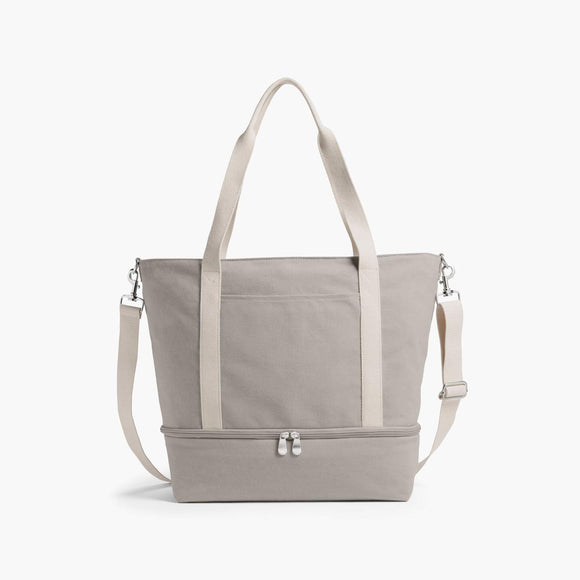 Front - The Catalina Deluxe Tote - Washed Canvas - Dove Grey - Tote - Lo & Sons