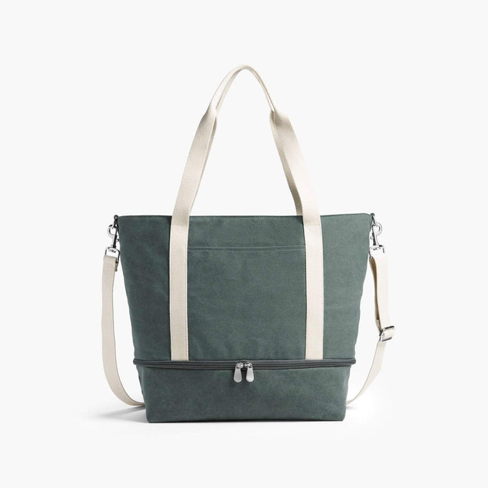 Front - The Catalina Deluxe Tote - Washed Canvas - Forest Green - Tote - Lo & Sons