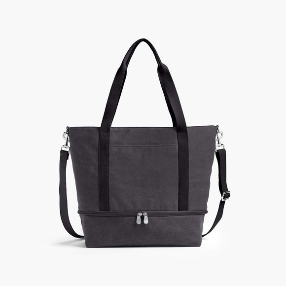 Front - The Catalina Deluxe Tote - Washed Canvas - Midnight Ash - Tote - Lo & Sons