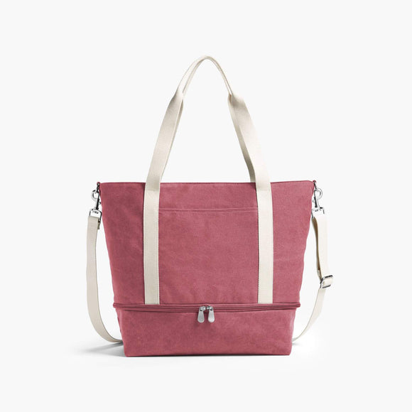 Front - The Catalina Deluxe Tote - Washed Canvas - Rose - Tote - Lo & Sons