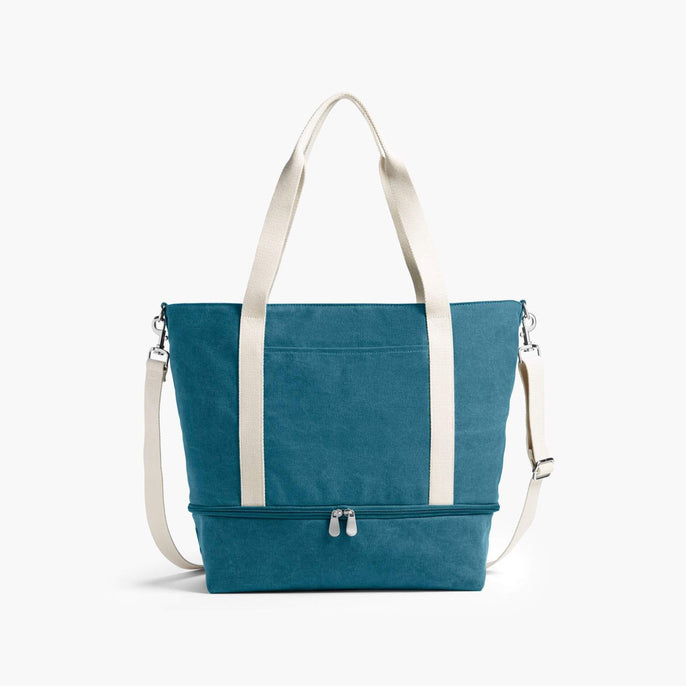 Front - The Catalina Deluxe Tote - Washed Canvas - Teal Blue - Tote - Lo & Sons