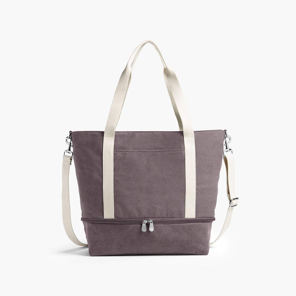 Front - The Catalina Deluxe Tote - Washed Canvas - Thistle - Tote - Lo & Sons