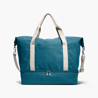 Front - The Catalina Deluxe - Washed Canvas - Teal Blue - Weekender - Lo & Sons