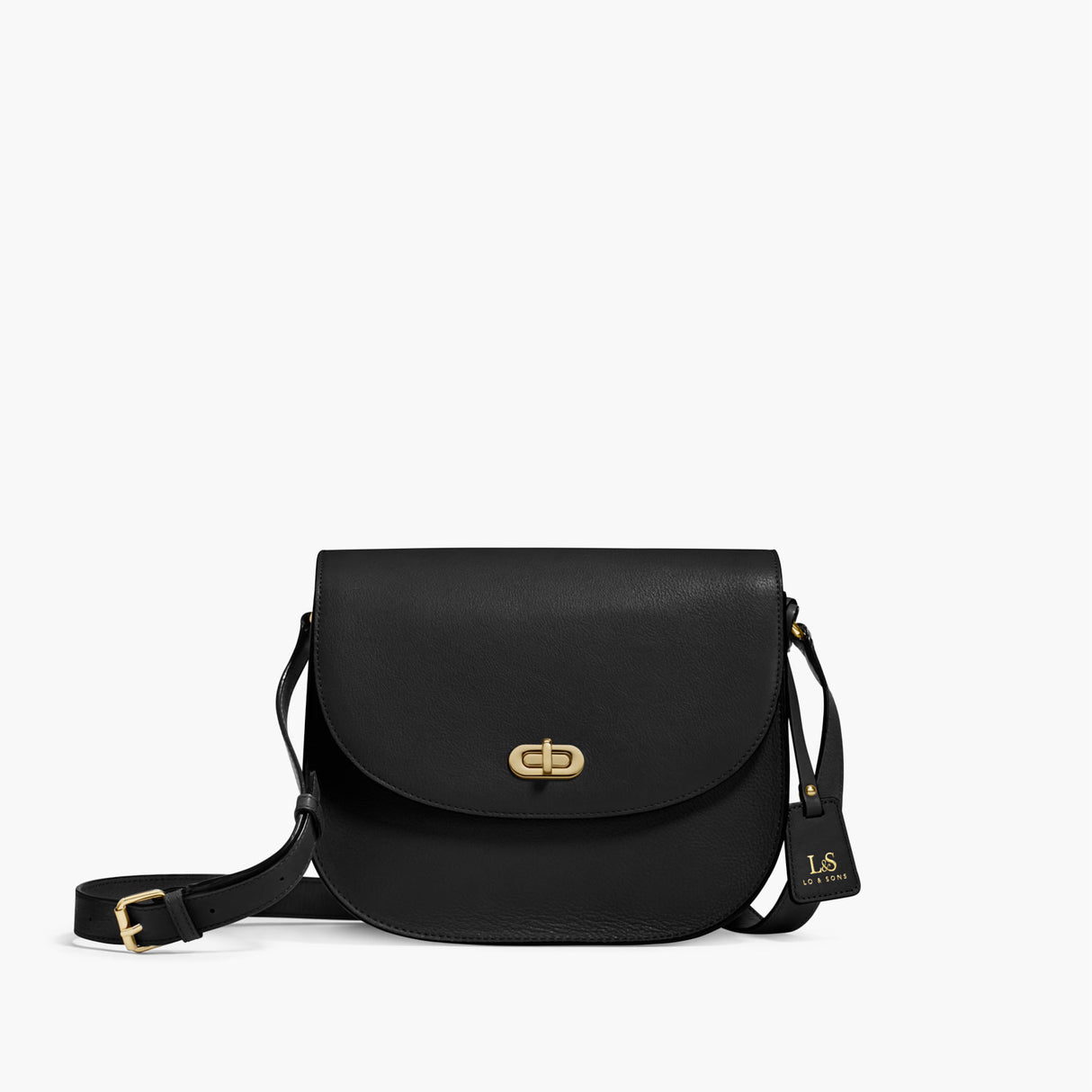 Front - The Claremont - Full Grain Leather - Black - Crossbody - Lo & Sons