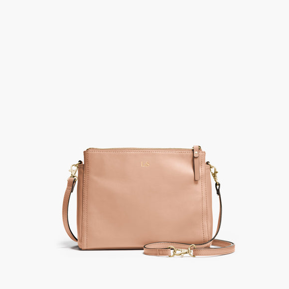 Front Crossbody - The Pearl - Nappa Leather - Rose Quartz / Gold / Camel - Crossbody - Lo & Sons