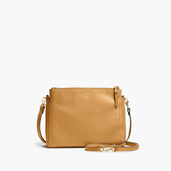 Front Crossbody - The Pearl - Nappa Leather - Sand / Gold / Camel - Crossbody - Lo & Sons