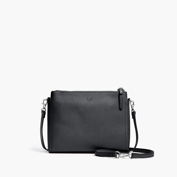 Front Crossbody - The Pearl - Saffiano Leather - Dark Grey / Silver / Azure - Crossbody - Lo & Sons