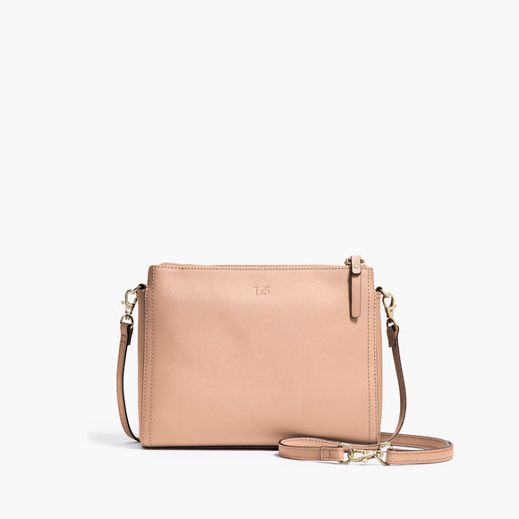 Front Crossbody - The Pearl - Saffiano Leather - Rose Quartz / Gold / Camel - Crossbody - Lo & Sons