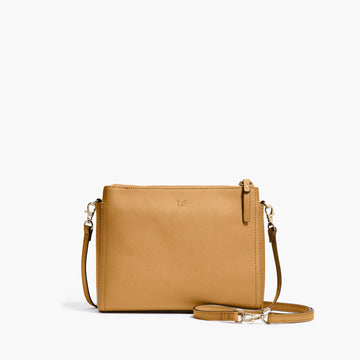 Front Crossbody - The Pearl - Saffiano Leather - Sand / Gold / Camel - Crossbody - Lo & Sons