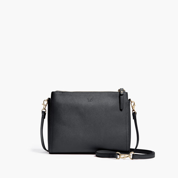 Front Crossbody - The Pearl - Saffiano Leather - Dark Grey / Gold / Grey - Crossbody - Lo & Sons