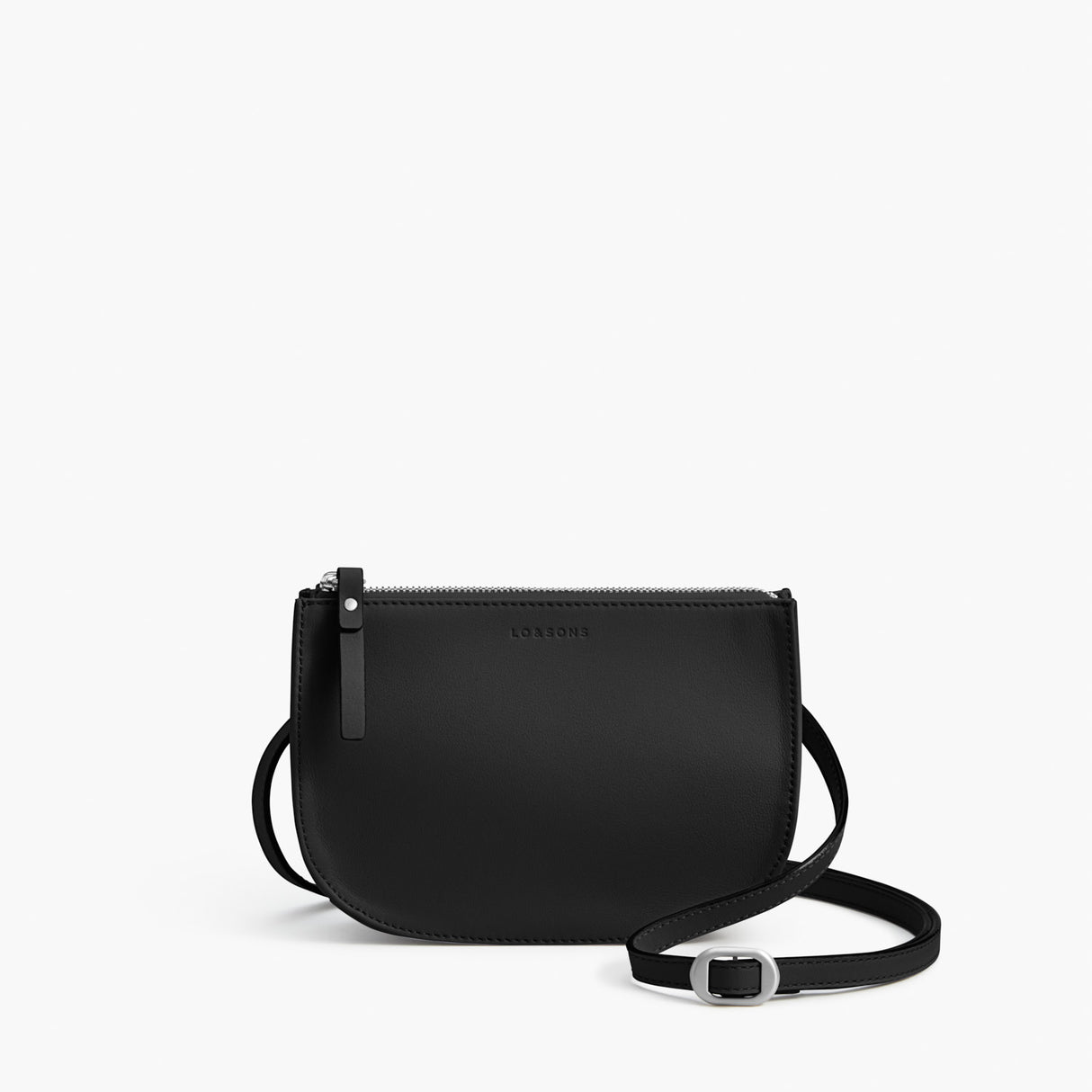 Front - Waverley 2 - Nappa Leather - Black / Silver / Grey - Crossbody Bag - Lo & Sons
