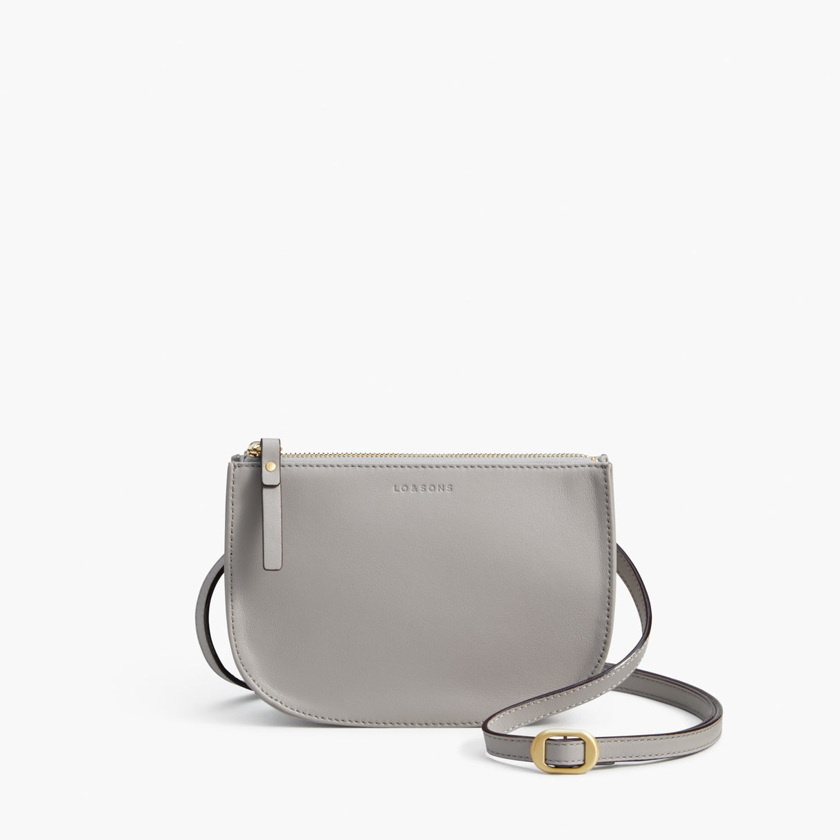 Front Crossbody - The Waverley 2 - Nappa Leather - Light Grey / Gold / Grey - Crossbody - Lo & Sons