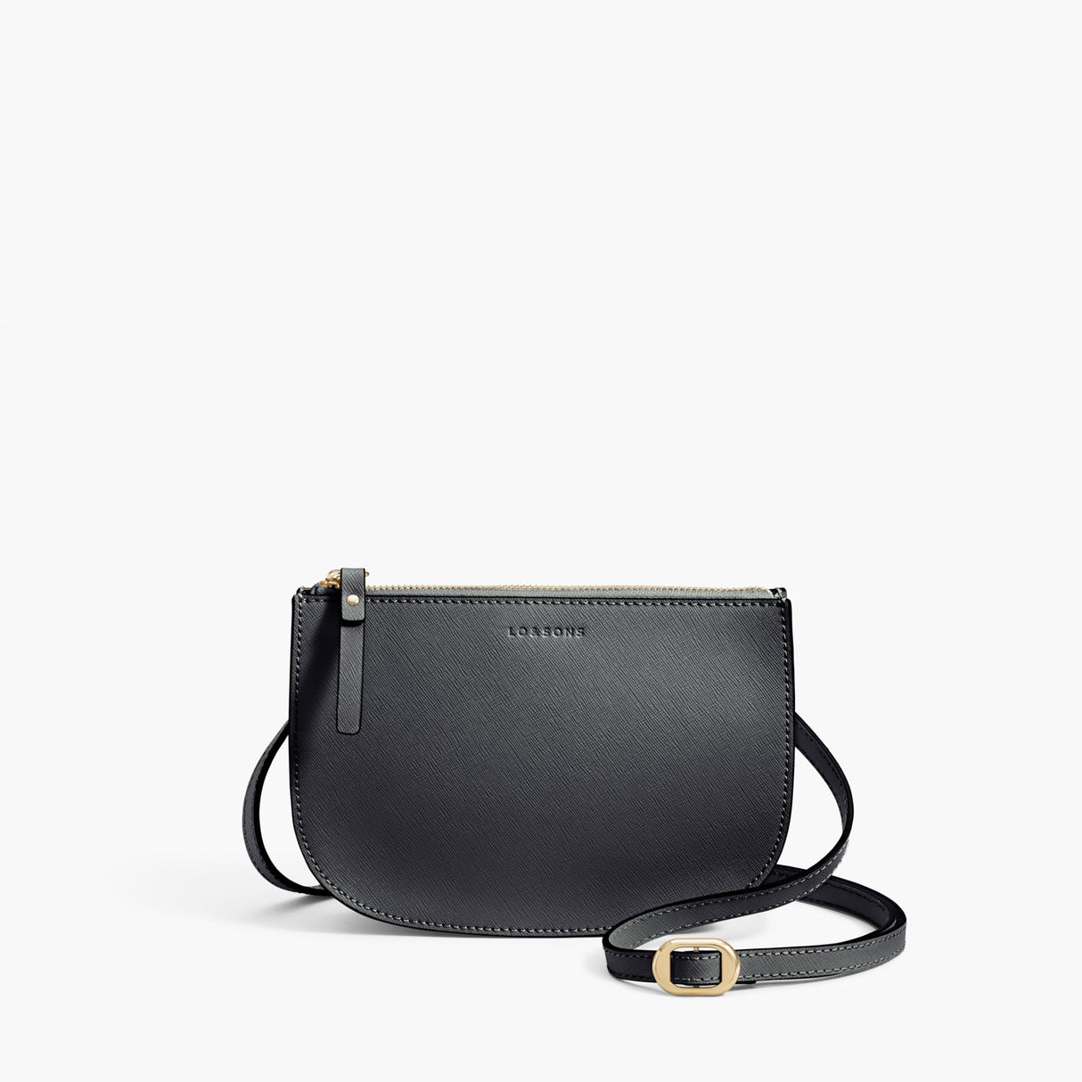 Front Crossbody - Waverley 2 - Saffiano Leather - Dark Grey / Gold / Grey - Crossbody Bag - Lo & Sons