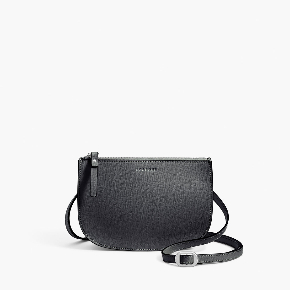 Front Crossbody - Waverley 2 - Saffiano Leather - Dark Grey / Silver / Azure - Crossbody Bag - Lo & Sons