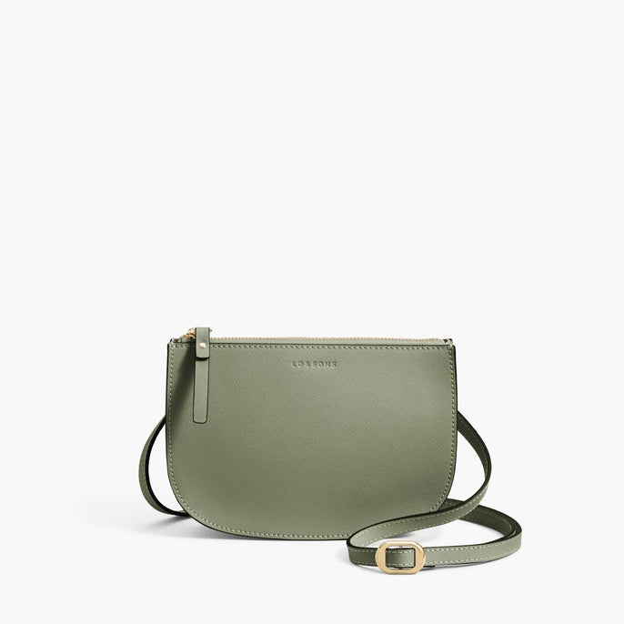 Front Crossbody - Waverley 2 - Saffiano Leather - Sage Green / Gold / Camel - Crossbody Bag - Lo & Sons