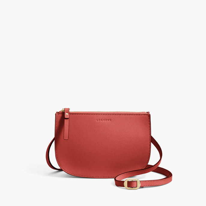 Front Crossbody - Waverley 2 - Saffiano Leather - Santa Fe Red / Gold / Camel - Crossbody Bag - Lo & Sons