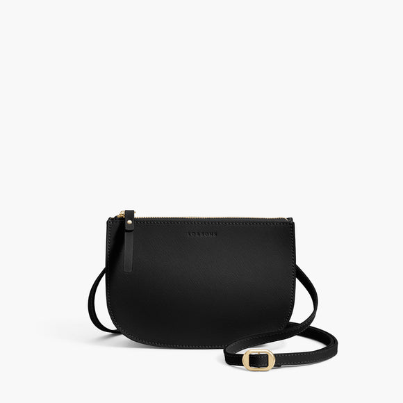 Front Crossbody - The Waverley 2 - Saffiano Leather - Black / Gold / Grey - Crossbody - Lo & Sons
