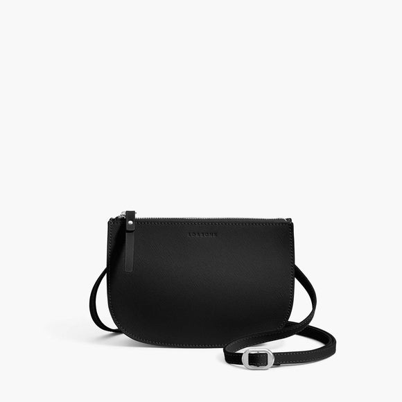 Front - Waverley 2 - Saffiano Leather - Black / Silver / Grey - Crossbody Bag - Lo & Sons