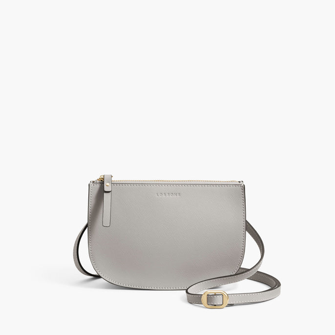 Front Crossbody - The Waverley 2 - Saffiano Leather - Light Grey / Gold / Grey - Crossbody - Lo & Sons