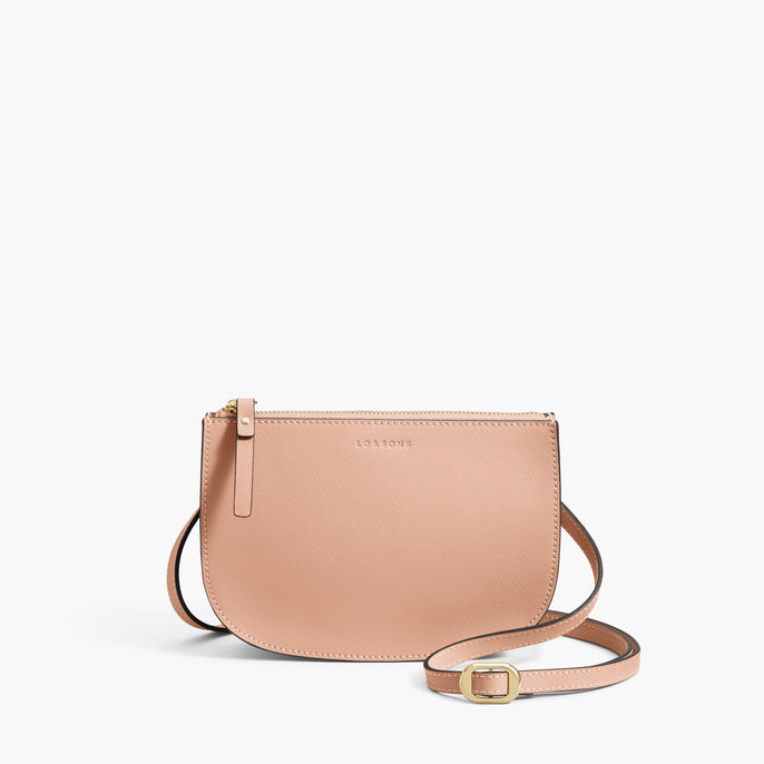 Front Crossbody - The Waverley 2 - Saffiano Leather - Rose Quartz / Gold / Camel - Crossbody - Lo & Sons
