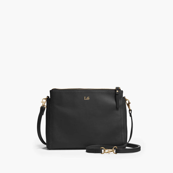 Front Crossbody - The Pearl - Nappa Leather - Black / Gold / Lavender - Crossbody - Lo & Sons