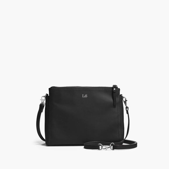 Front Crossbody - The Pearl - Nappa Leather - Black / Silver / Lavender - Crossbody - Lo & Sons