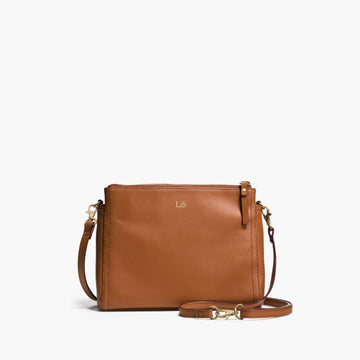 Front Crossbody - The Pearl - Nappa Leather - Sienna / Gold / Camel - Crossbody - Lo & Sons