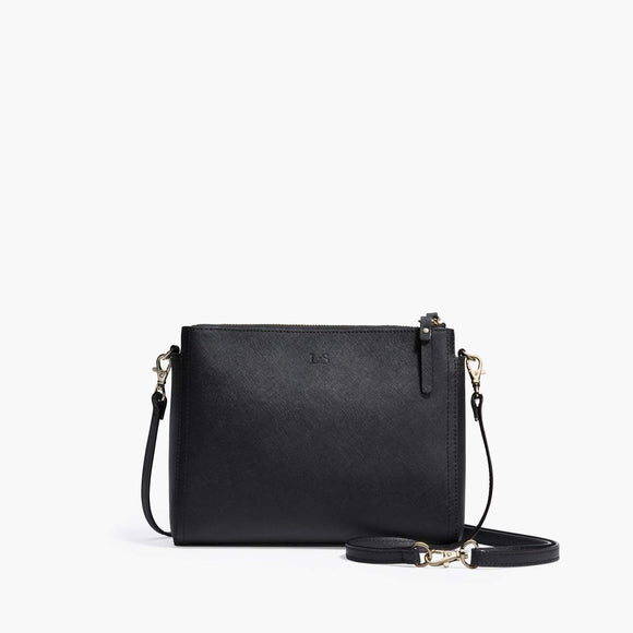 Front Crossbody - The Pearl - Saffiano Leather - Black / Gold / Grey - Crossbody - Lo & Sons