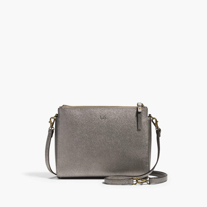 Front Crossbody - The Pearl - Saffiano Leather - Graphite / Brass / Grey - Crossbody - Lo & Sons