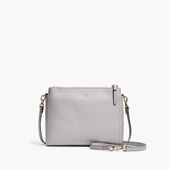 Front Crossbody - The Pearl - Saffiano Leather - Light Grey / Gold / Grey - Crossbody - Lo & Sons
