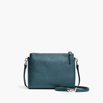 Front Crossbody - The Pearl - Saffiano Leather - Pacific Blue / Gold / Grey - Crossbody - Lo & Sons