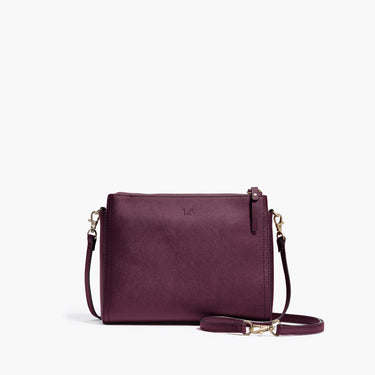 Front Crossbody - The Pearl - Saffiano Leather - Plum / Gold / Grey - Crossbody - Lo & Sons