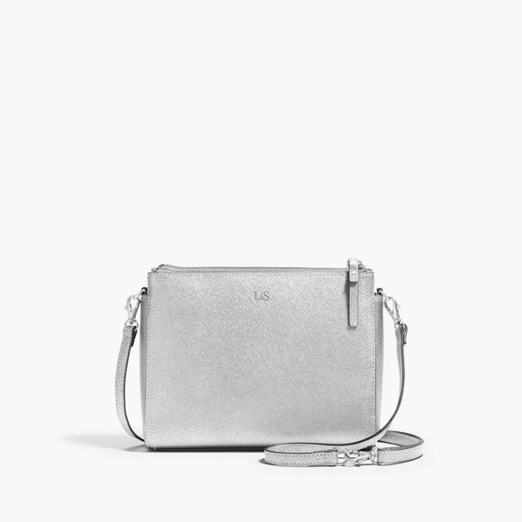 Front Crossbody - The Pearl - Saffiano Leather - Silver / Silver / Grey - Crossbody - Lo & Sons