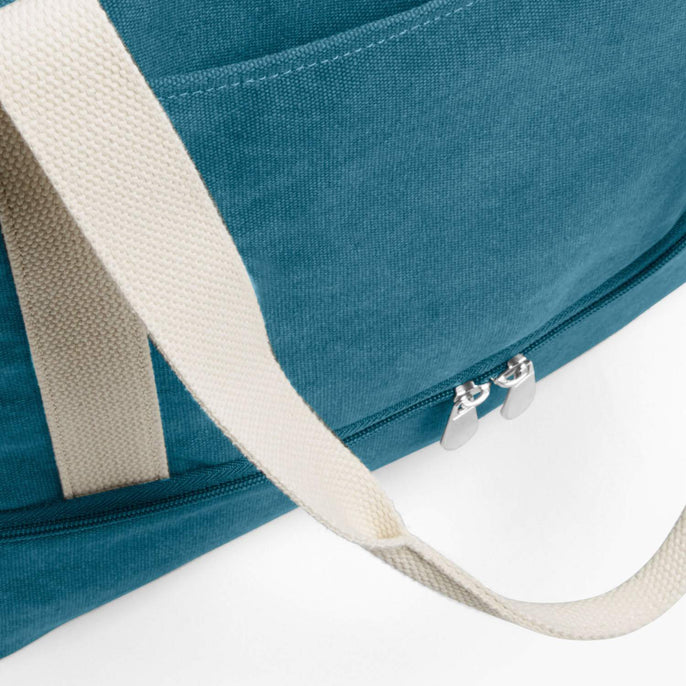 Front Pocket - The Catalina Deluxe Tote - Washed Canvas - Teal Blue - Tote - Lo & Sons