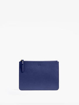 Front - Pouch - Saffiano Leather - Navy - Small Accessory - Lo & Sons