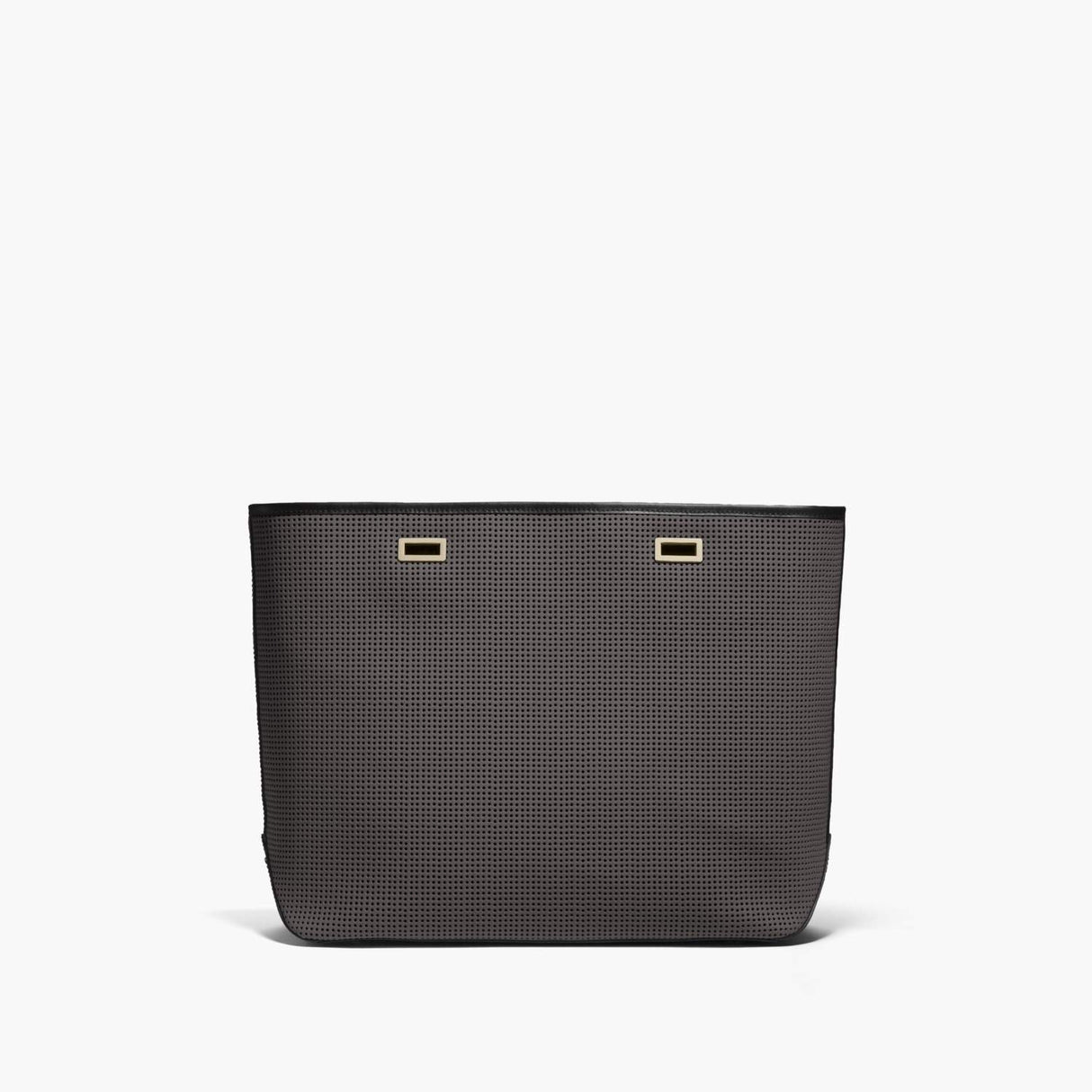 Front - The Seville Shell - Perforated Saffiano Leather - Dark Grey / Gold / Black - Tote - Lo & Sons