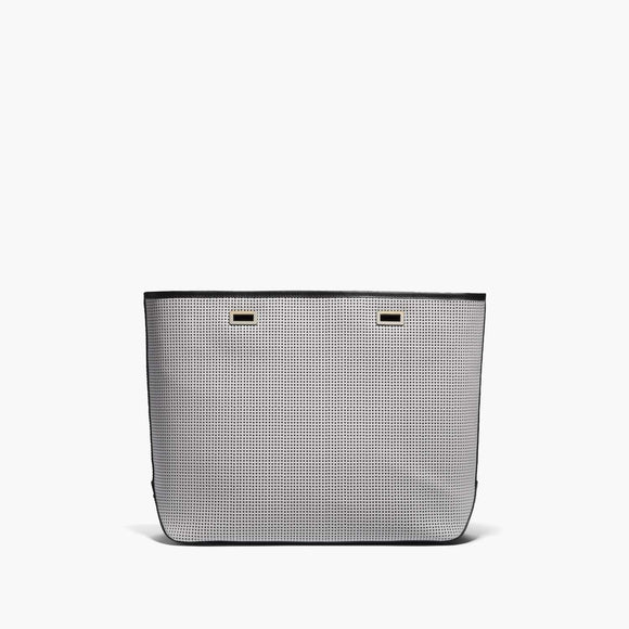 Front - The Seville Shell - Perforated Saffiano Leather - Light Grey / Gold / Black - Tote - Lo & Sons