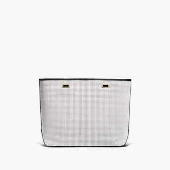 Front - The Seville Shell - Perforated Saffiano Leather - White / Gold / Black - Tote - Lo & Sons