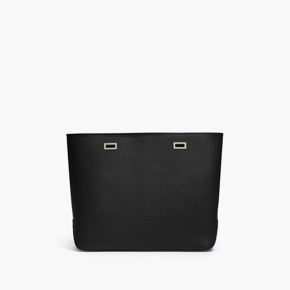 Front - The Seville Shell - Saffiano Leather - Black / Gold / Black - Tote - Lo & Sons