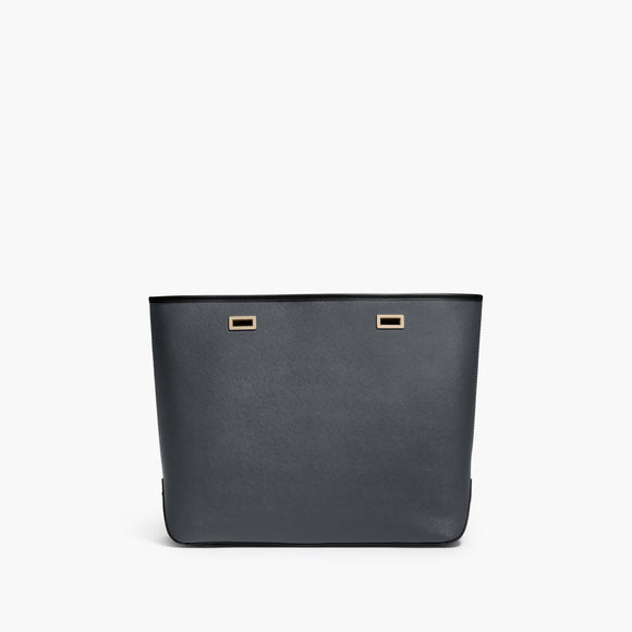 Front - The Seville Shell - Saffiano Leather - Dark Grey / Gold / Black - Tote - Lo & Sons