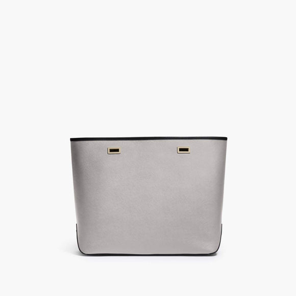 Front - The Seville Shell - Saffiano Leather - Light Grey / Gold / Black - Tote - Lo & Sons