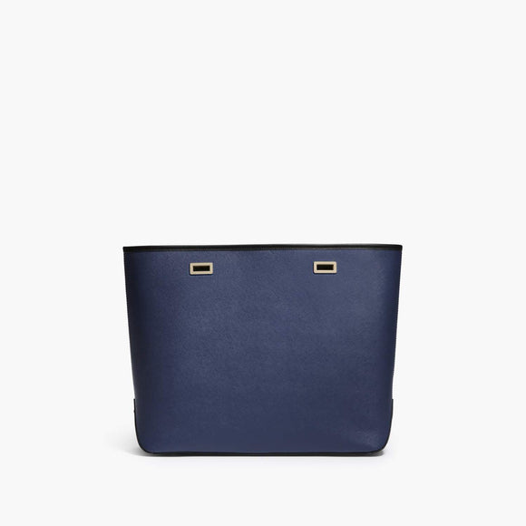 Front - The Seville Shell - Saffiano Leather - Navy / Gold / Black - Tote - Lo & Sons