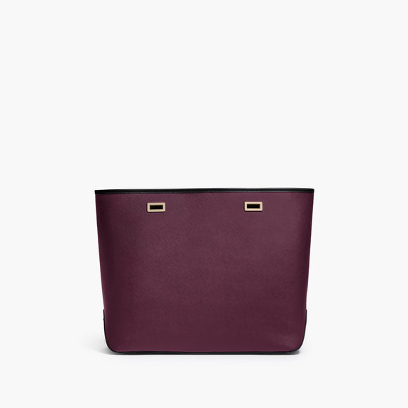 Front - Seville - Saffiano Leather - Plum/Gold/Black - Tote - Lo & Sons