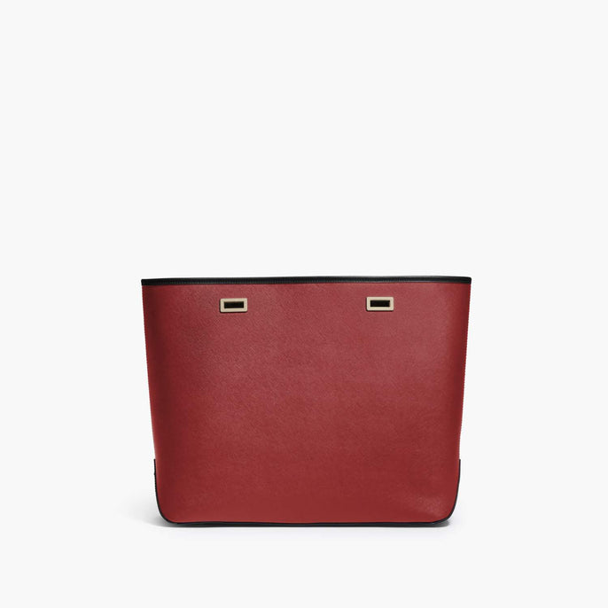 Front - The Seville Shell - Saffiano Leather - Red / Gold / Black - Tote - Lo & Sons