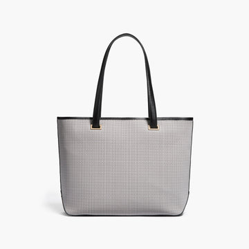 Front - The Seville Tote - Perforated Saffiano Leather - Light Grey / Gold / Grey - Tote - Lo & Sons