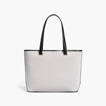 Front - The Seville Tote - Perforated Saffiano Leather - White / Gold / Grey - Tote - Lo & Sons