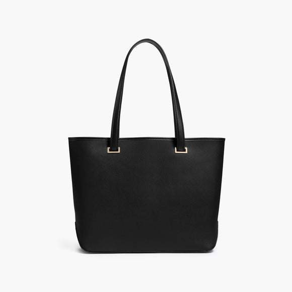 Front - The Seville Tote - Saffiano Leather - Black / Gold / Grey - Tote - Lo & Sons