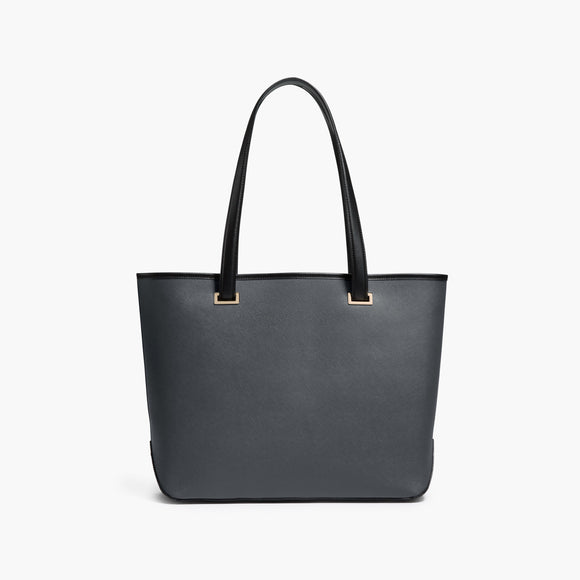 Front - The Seville Tote - Saffiano Leather - Dark Grey / Gold / Grey - Tote - Lo & Sons