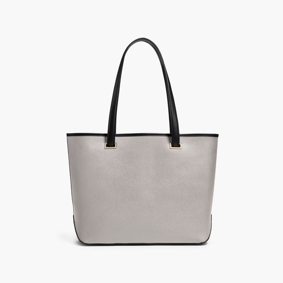 Front - The Seville Tote - Saffiano Leather - Light Grey / Gold / Grey - Tote - Lo & Sons