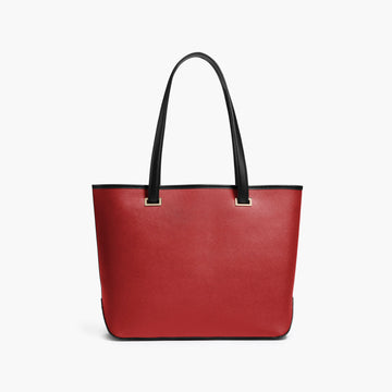 Front - The Seville Tote - Saffiano Leather - Red / Gold / Grey - Tote - Lo & Sons